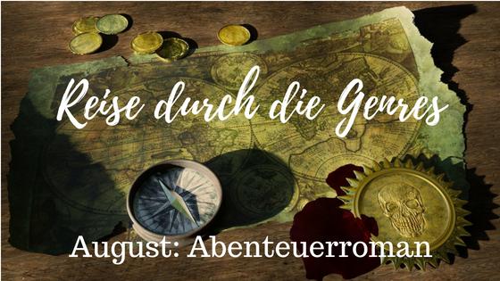 Logo zum Genre des Monats August bei der Reise durch die Genres, Abenteuerroman